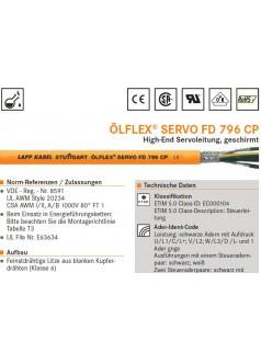 供应LAPPKABEL-796 CP伺服拖链电缆
