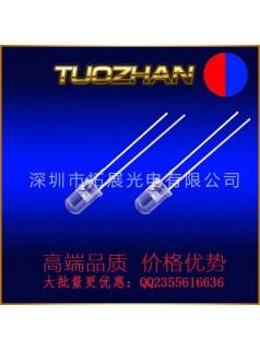 厂家供应直插LED3mm红蓝长脚双色无极雾状高亮两脚