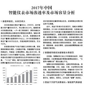 2017年中国智能仪表市场渗透率及市场容量分析 (2)