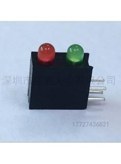 批发LED发光二极管带灯座3mm红绿圆头高亮带2孔2灯可切脚