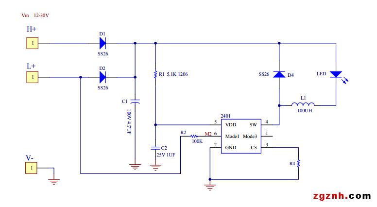 AP2401 是一款 PWM 工作模式,高效率、外围简单、内置功率管,适用于5V-100V 输入的高精度降压LED恒流驱动芯片。输出功率可达10W,最大电流 1A。  AP2401 可实现二段功能切换,通过 MODE2/3 切换二种功能模式:全亮、半亮、全亮/半亮/爆闪循环模式。  工作频率固定在150KHZ左右,同时内置抖频电路,可以降低对其他设备的 EMI 干扰。另外采用平均电流采样模式,可以提高宽输入电压情况下的电流精度。  AP2401带有输出短路保护功能,5V~100V 输入条件下,短