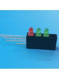 带灯座四孔三灯3mm红黄绿无边四孔灯座带三灯颜色可选
