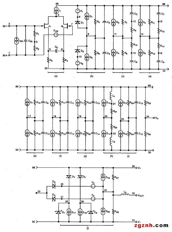 图6 - 兼容SPICE的运算放大器宏模型