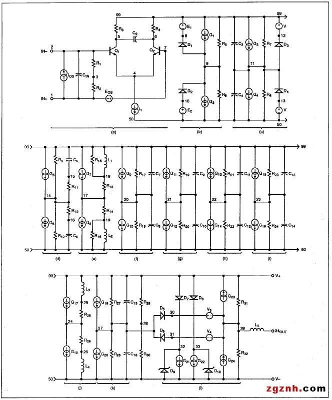 图13 -兼容SPICE的运算放大器宏模型